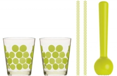 Cocktail Set 5-tlg. grün (Becher, Trinkhalme, Stössel)