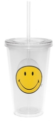 Smiley Klassik Doppelwand Becher transparent m. Trinkhalm 48