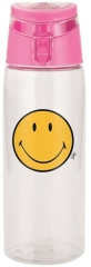 Smiley Flasche transparent m. Deckel fuchsia, 75 cl