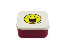 Smiley Lunchbox, fuchsia/weiss, 12 x 12 cm