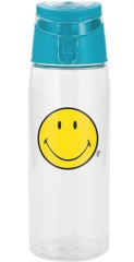 Smiley Flasche transparent m. Deckel aqua blau, 75 cl