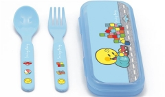 Smiley Baby blau, Besteck 2-er Set 14 cm