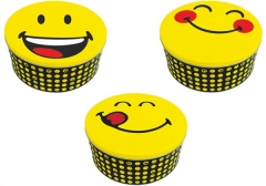 Smiley Blechdosen 3er Set, assortiert Ø19.7/16.7/13.5 cm