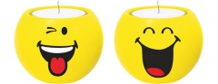 Smiley Teelicht 2er-Set, Emoticon Happy/Zwinkern Ø6cm