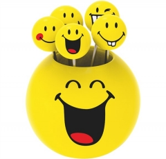 Smiley Party Picks 5er-Set, Emoticon assortiert
