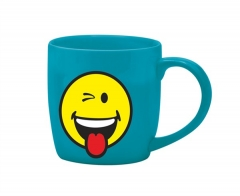 Smiley Porz. Kaffeetasse auqa blau/Emoticon zwinkern 20cl