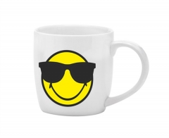 Smiley Porz. Kaffeetasse weiss/Emoticon cool/Sonnenbr. 20cl