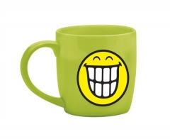 Smiley Porz. Teetasse grün/Emoticon breites Grinsen 35cl