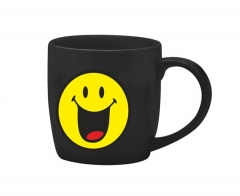Smiley Porz. Teetasse schwarz/Emoticon happy 35 cl