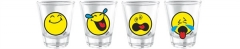 Smiley Glas Emoticon shots 4er Set, 6 cl in GK 22x7x5.5cm