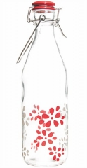 Lily Glasflasche weiss/rot, 1 lt
