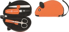 Twin Kids Reissverschluss-Etui Ziegenleder orange 3-tlg.