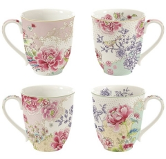 Chinoiserie 4er Set Porzellanbecher 300ml in GB