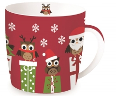 "Christmas Owls Porzellanbecher in GB ""Eulen"", rot, 350 ml"