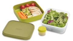 GoEat Compact 2-in-1 Salat Box, grün, 15x15x7/9.5 cm
