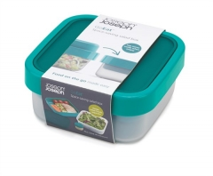 GoEat Compact 2-in-1 Salat Box, türkis, 15x15x7/9.5 cm