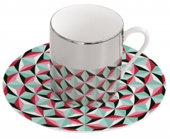 "Magic Cup Espressotasse m. Untere in GB, ""Geo"" pink, 120 ml"