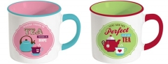 "Retro Break ""Tee"" 2er Set Keramikbecher 300 ml, grün u. pink"