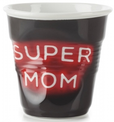 "Cappuccino Knitterbecher 18 cl, Neon ""Super Mom"""