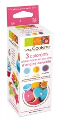 3er Set Natur-Farbpulver violett, blau, orange