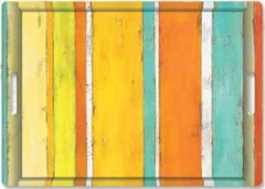 Stripes on Wood orange Tablett m. Griffen 45x31 cm
