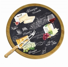 World of Cheese Serviertablett drehbar+Messer, Bambus, Ø32cm