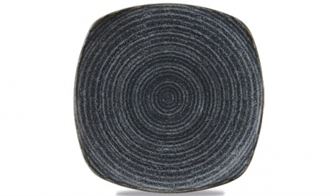 Homespun Teller flach quadratisch 25.5cm, Charcoal Black