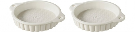 2er Set Wähenform in GB, Ø 13 cm, H: 2.7 cm, creme