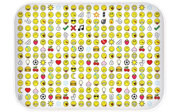 Smiley Tablett Emoticon weiss 28×20 cm