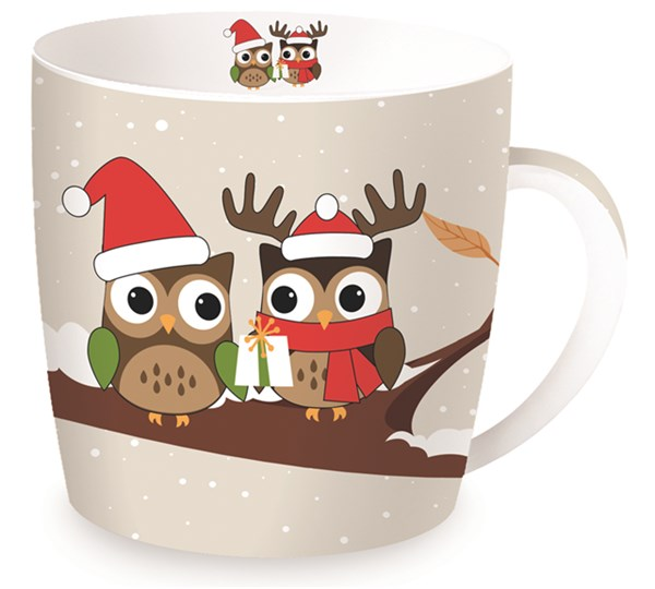 "Christmas Owls Porzellanbecher in GB ""Eulen"", braun, 350 ml"